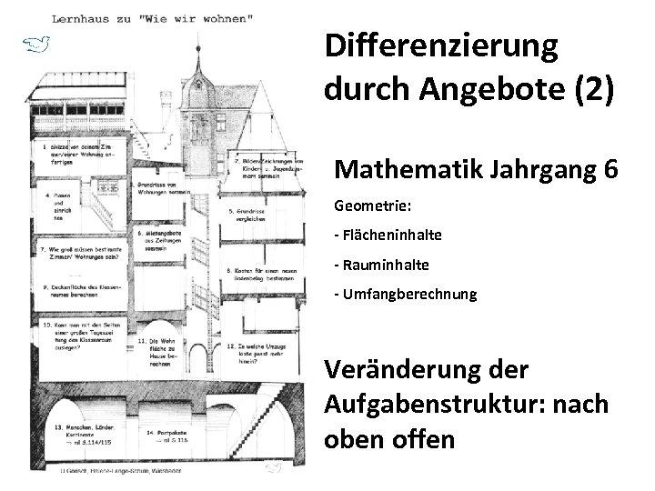 Differenzierung durch Angebote (2) Mathematik Jahrgang 6 Geometrie: - Flächeninhalte - Rauminhalte - Umfangberechnung