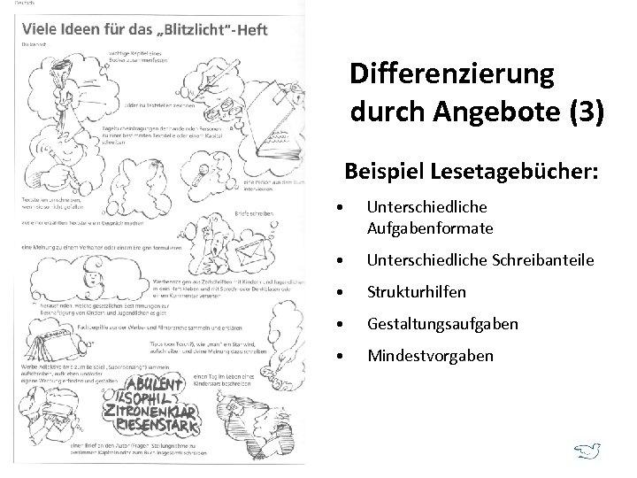 Differenzierung durch Angebote (3) Beispiel Lesetagebücher: • Unterschiedliche Aufgabenformate • Unterschiedliche Schreibanteile • Strukturhilfen