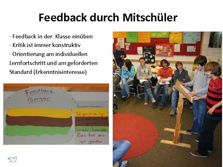 Feedback durch Mitschüler - Feedback in der Klasse einüben - Kritik ist immer konstruktiv