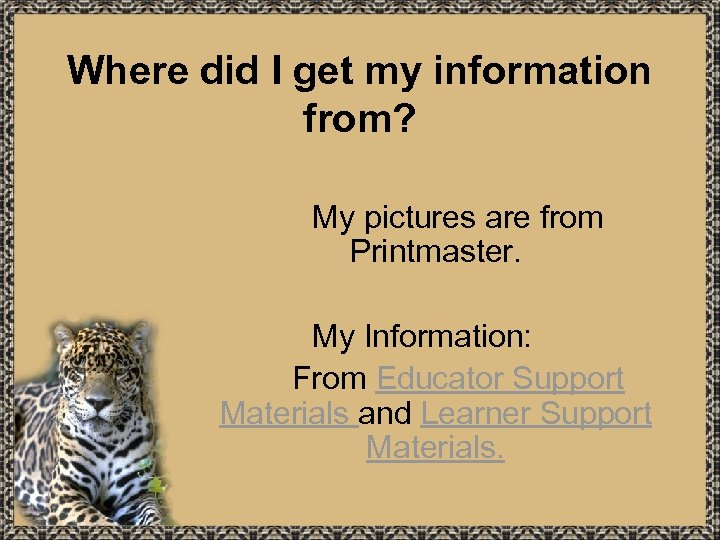 Where did I get my information from? My pictures are from Printmaster. My Information: