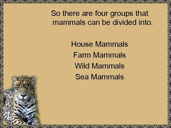 So there are four groups that mammals can be divided into. House Mammals Farm