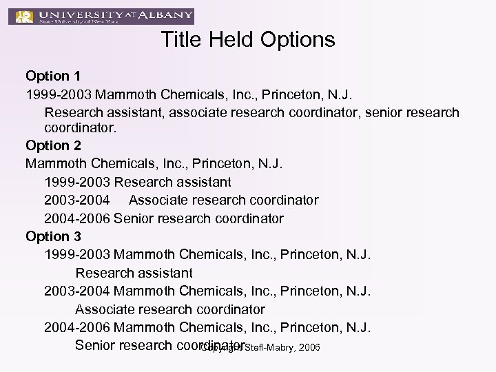 Title Held Options Option 1 1999 -2003 Mammoth Chemicals, Inc. , Princeton, N. J.