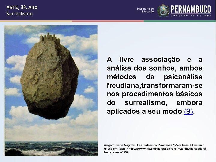 ARTE, 3º. Ano Surrealismo A livre associação e a análise dos sonhos, ambos métodos
