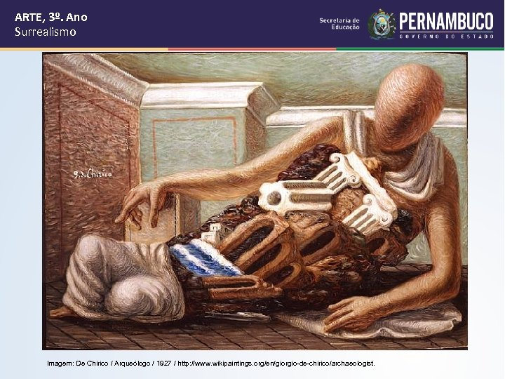 ARTE, 3º. Ano Surrealismo Imagem: De Chirico / Arqueólogo / 1927 / http: //www.