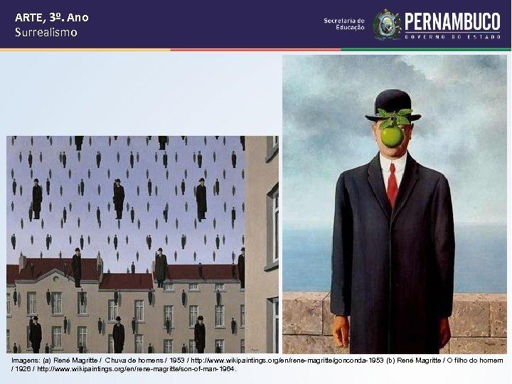 ARTE, 3º. Ano Surrealismo Imagens: (a) René Magritte / Chuva de homens / 1953