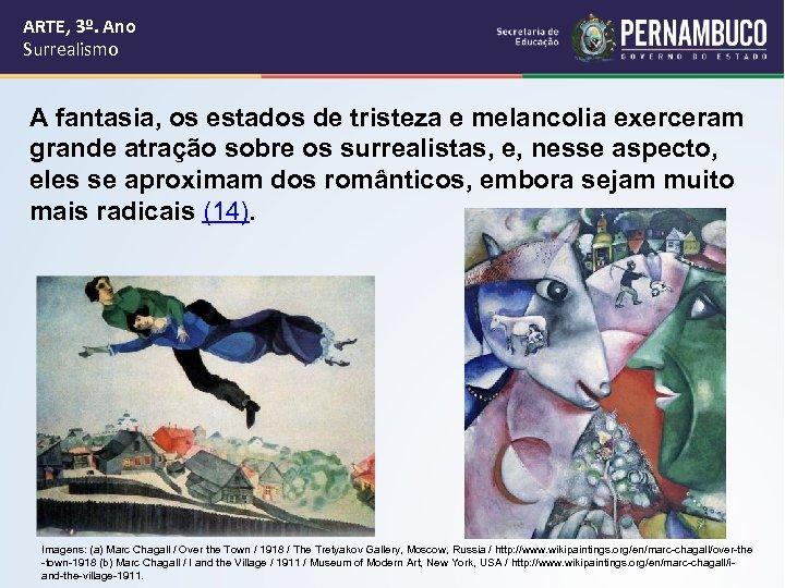 ARTE, 3º. Ano Surrealismo A fantasia, os estados de tristeza e melancolia exerceram grande