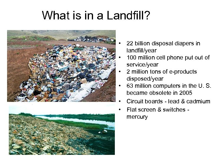 What is in a Landfill? • 22 billion disposal diapers in landfill/year • 100