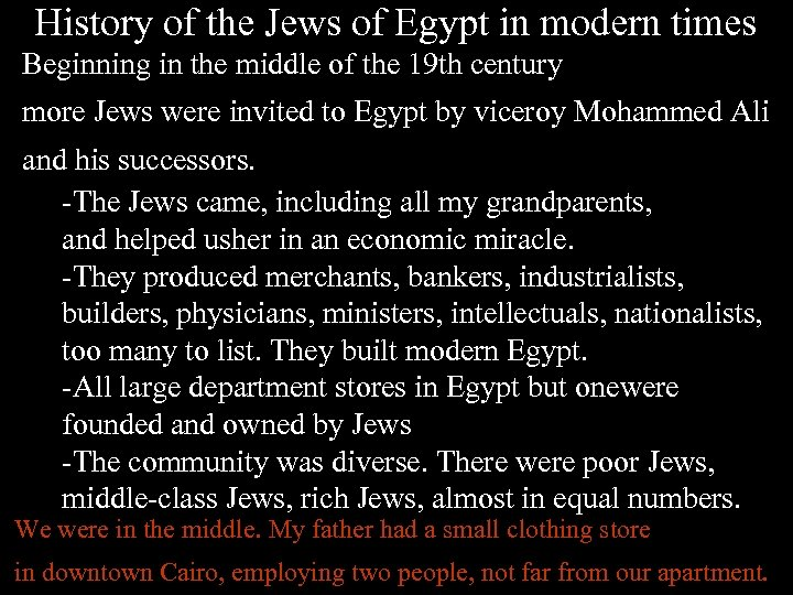 History of the Jews of Egypt in modern times Beginning in the middle of