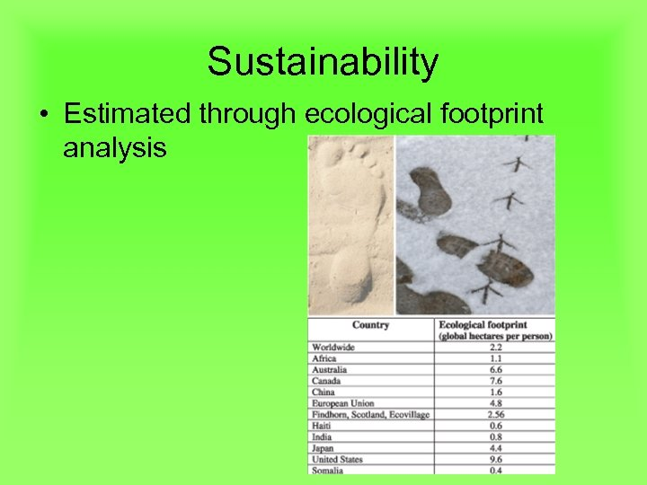 Sustainability • Estimated through ecological footprint analysis