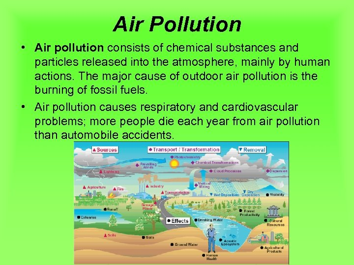 Air Pollution • Air pollution consists of chemical substances and particles released into the
