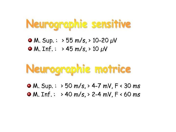 M. Sup. : > 55 m/s, > 10 -20 µV M. Inf. : >