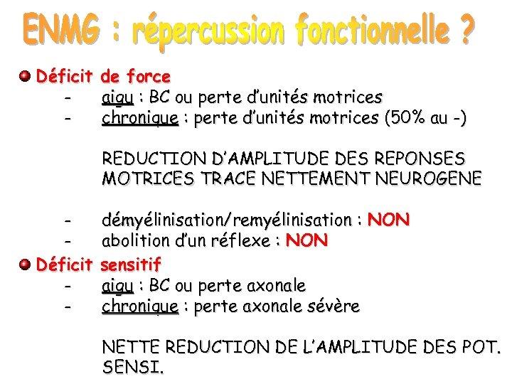 Déficit - de force aigu : BC ou perte d'unités motrices chronique : perte