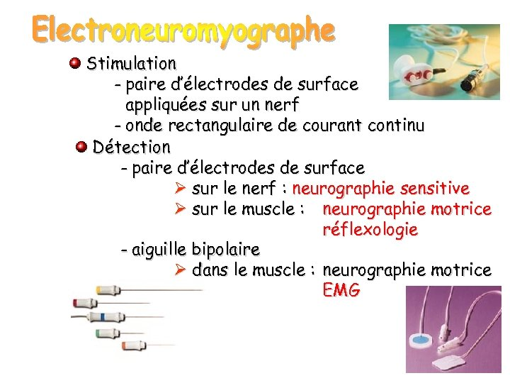 Stimulation - paire d'électrodes de surface appliquées sur un nerf - onde rectangulaire de