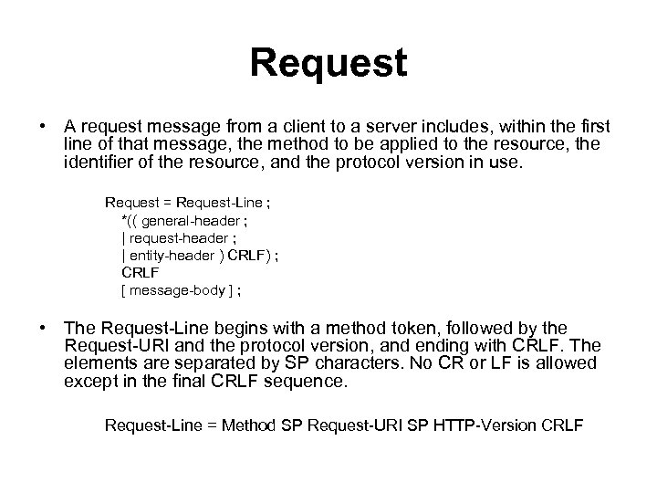 Request • A request message from a client to a server includes, within the