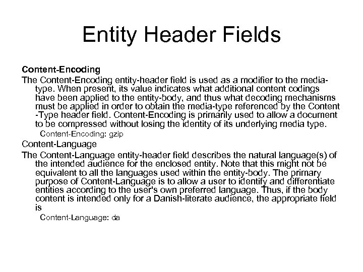 Entity Header Fields Content-Encoding The Content-Encoding entity-header field is used as a modifier to