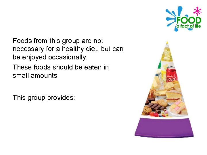 Foods from this group are not necessary for a healthy diet, but can be
