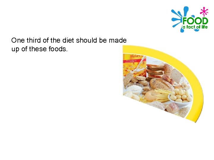 One third of the diet should be made up of these foods.