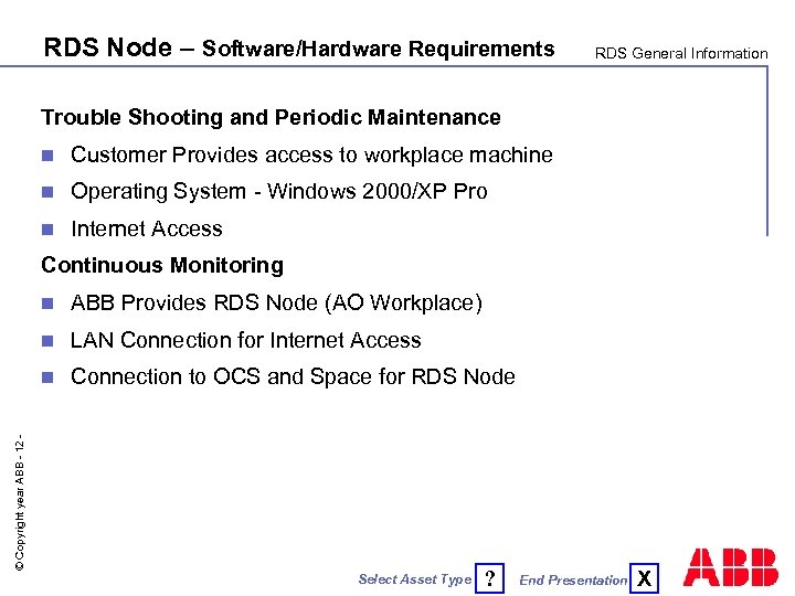 RDS Node – Software/Hardware Requirements RDS General Information Trouble Shooting and Periodic Maintenance n