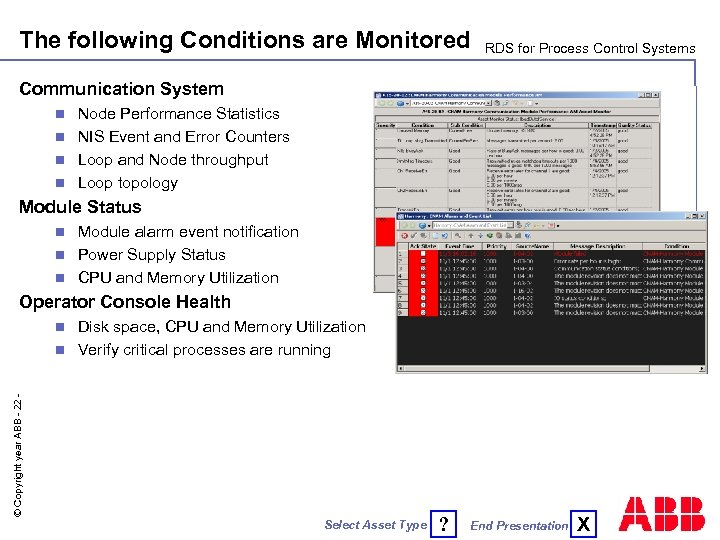The following Conditions are Monitored RDS for Process Control Systems Communication System Node Performance