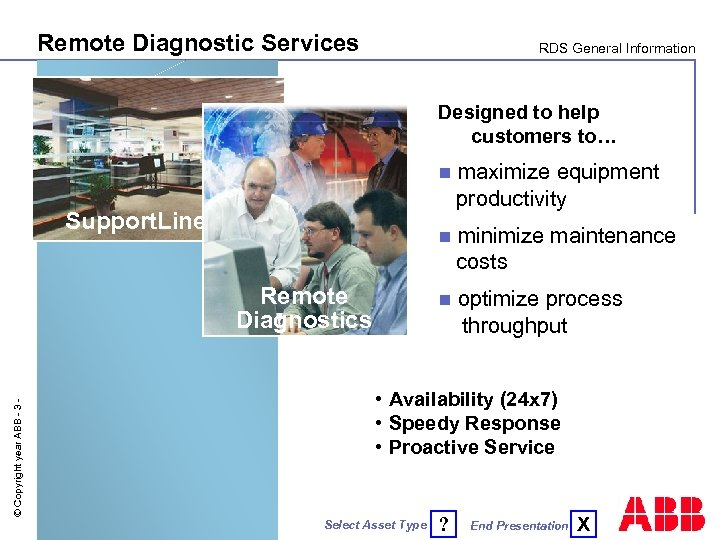 Remote Diagnostic Services RDS General Information Designed to help customers to… n n ©