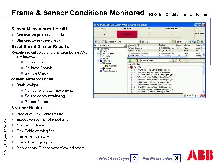 Frame & Sensor Conditions Monitored RDS for Quality Control Systems Sensor Measurement Health n