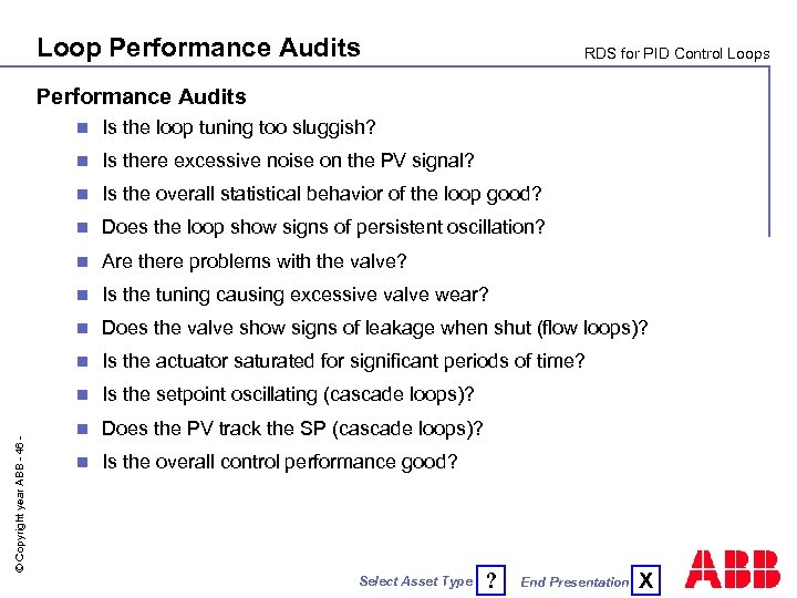 Loop Performance Audits RDS for PID Control Loops Performance Audits Is the loop tuning