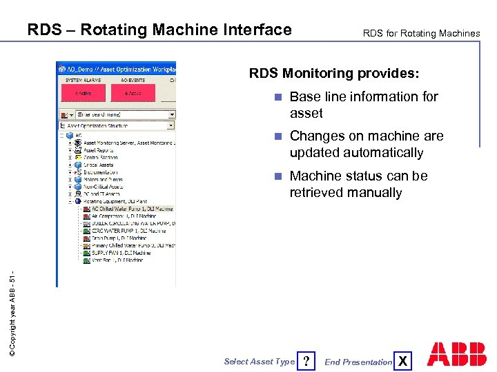 RDS – Rotating Machine Interface RDS for Rotating Machines RDS Monitoring provides: Base line