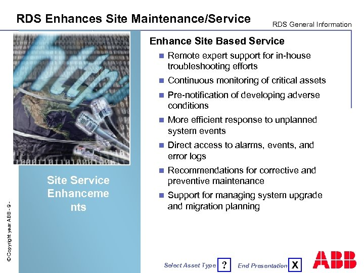 RDS Enhances Site Maintenance/Service RDS General Information Enhance Site Based Service Continuous monitoring of