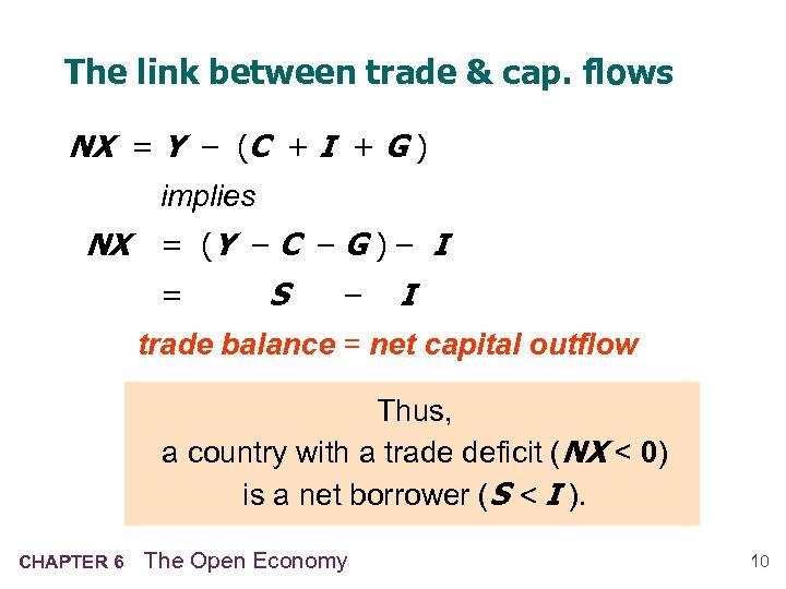 The link between trade & cap. flows NX = Y – (C + I