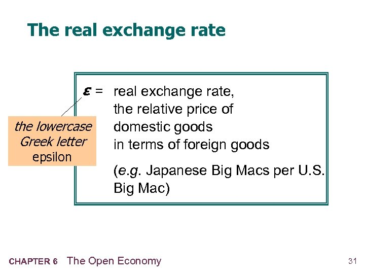 The real exchange rate ε = real exchange rate, the lowercase Greek letter epsilon