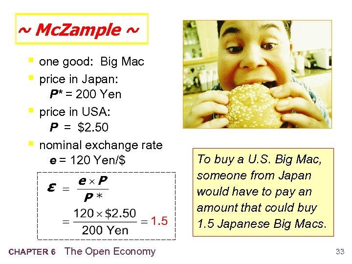 ~ Mc. Zample ~ § one good: Big Mac § price in Japan: §