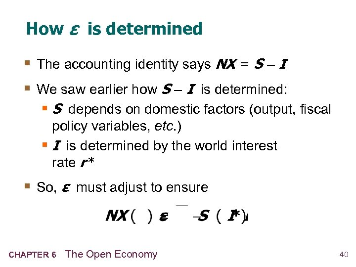 How ε is determined § The accounting identity says NX = S – I