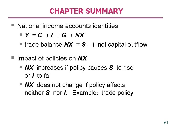 CHAPTER SUMMARY § National income accounts identities § Y = C + I +