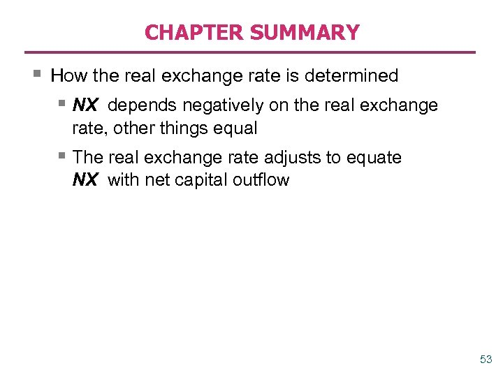 CHAPTER SUMMARY § How the real exchange rate is determined § NX depends negatively