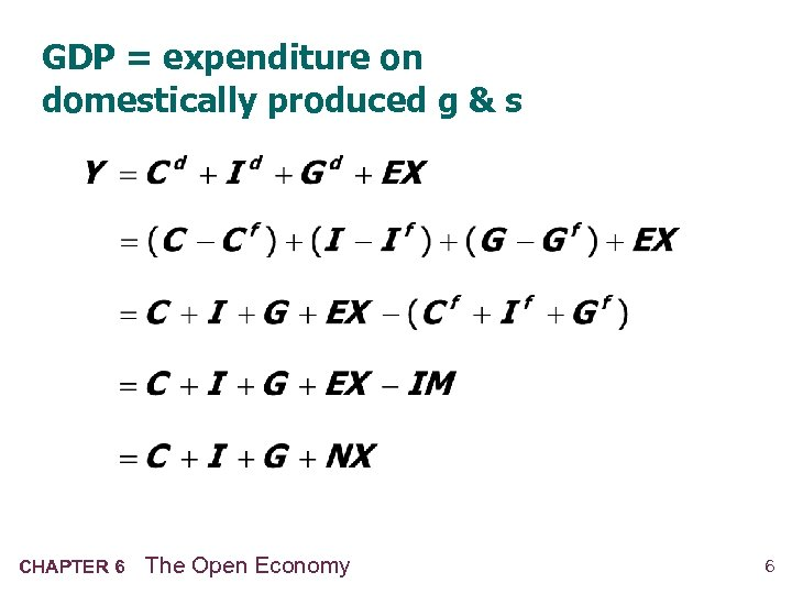 GDP = expenditure on domestically produced g & s CHAPTER 6 The Open Economy