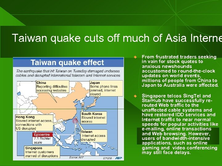 Taiwan quake cuts off much of Asia Interne u From frustrated traders seeking in