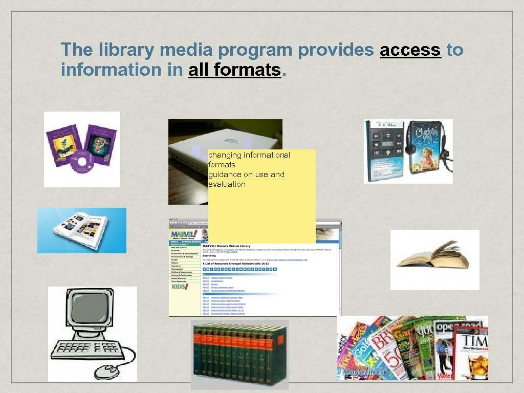 The library media program provides access to information in all formats. changing informational formats