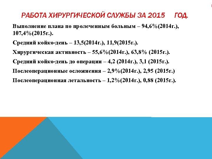 РАБОТА ХИРУРГИЧЕСКОЙ СЛУЖБЫ ЗА 2015 ГОД. Выполнение плана по пролеченным больным – 94, 6%(2014