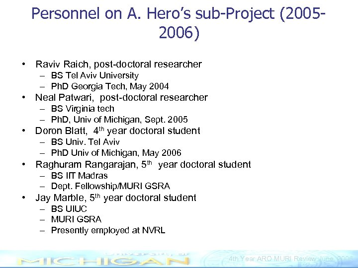 Personnel on A. Hero's sub-Project (20052006) • Raviv Raich, post-doctoral researcher – BS Tel