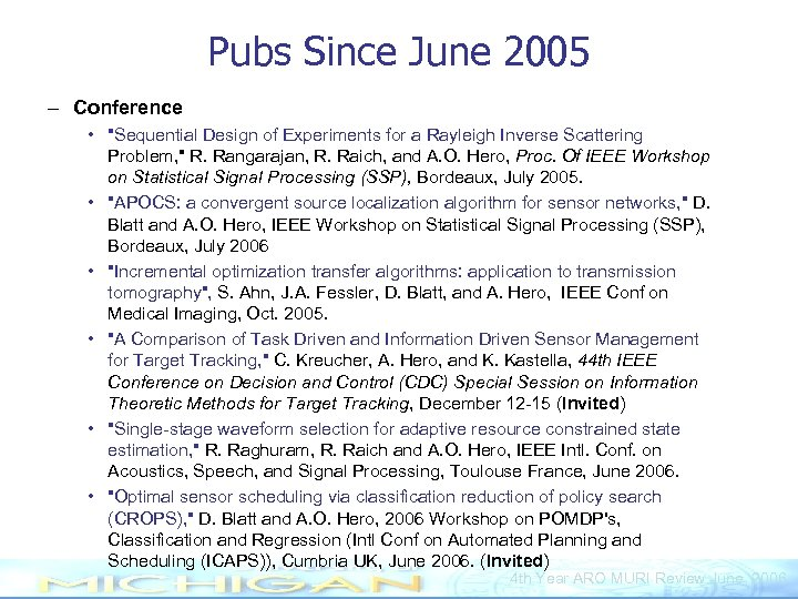 Pubs Since June 2005 – Conference •