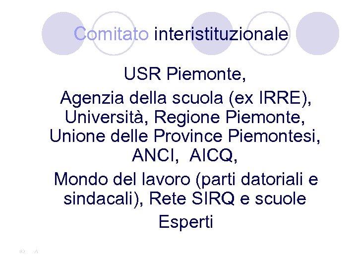 Comitato interistituzionale USR Piemonte, Agenzia della scuola (ex IRRE), Università, Regione Piemonte, Unione delle