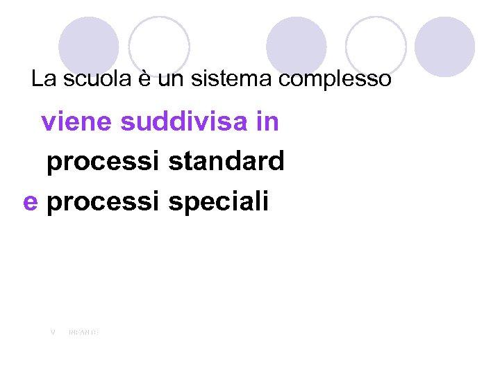 La scuola è un sistema complesso viene suddivisa in processi standard e processi speciali