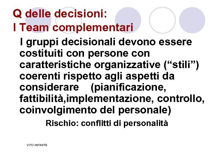 Q delle decisioni: I Team complementari I gruppi decisionali devono essere costituiti con persone