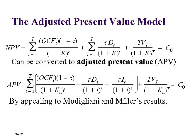The Adjusted Present Value Model T S NPV = t=1 (OCFt)(1 – t) (1