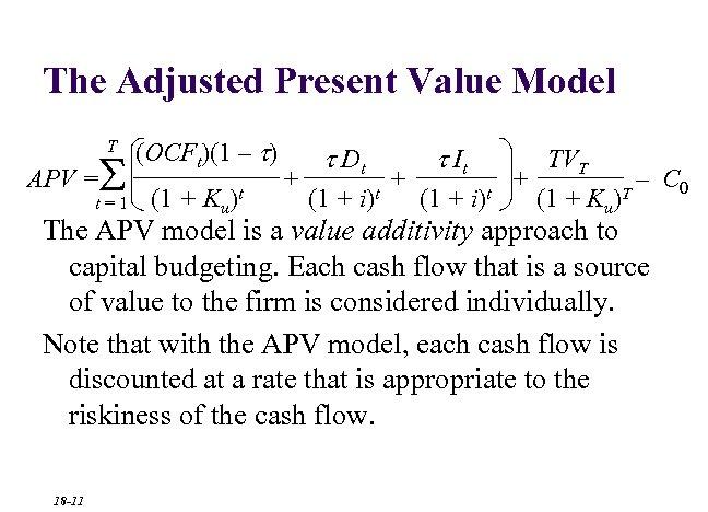 The Adjusted Present Value Model T S APV = t=1 (OCFt)(1 – t) (1