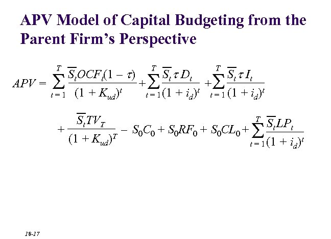 APV Model of Capital Budgeting from the Parent Firm's Perspective T T T St.