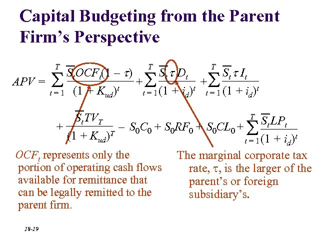 Capital Budgeting from the Parent Firm's Perspective T T T St. OCFt(1 – t)