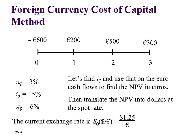 Foreign Currency Cost of Capital Method – € 600 € 200 € 500 €