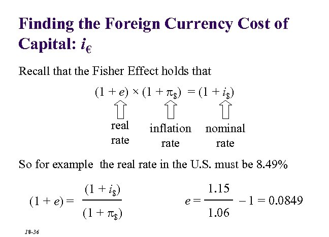Finding the Foreign Currency Cost of Capital: i€ Recall that the Fisher Effect holds