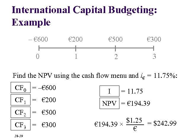 International Capital Budgeting: Example – € 600 € 200 € 500 € 300 0